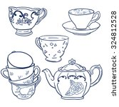vector set with teapots and... | Shutterstock .eps vector #324812528