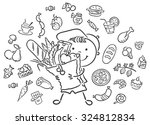 happy child with a big bag full ... | Shutterstock .eps vector #324812834