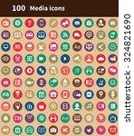 media 100 icons universal set... | Shutterstock .eps vector #324821690
