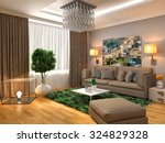 interior with brown sofa. 3d... | Shutterstock . vector #324829328