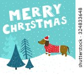 vector christmas card with cute ... | Shutterstock .eps vector #324833648
