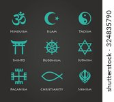 world religion symbols cyan... | Shutterstock . vector #324835790