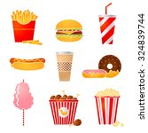 vector set of nine fast food...   Shutterstock .eps vector #324839744