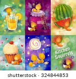 set of cards with small... | Shutterstock . vector #324844853