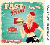 fast food girl blonde | Shutterstock .eps vector #324857903