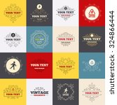 vintage frames  labels. caution ... | Shutterstock .eps vector #324866444