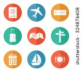 travel icons flat colored... | Shutterstock .eps vector #324876608