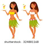 beautiful hawaiian waitress... | Shutterstock .eps vector #324881168