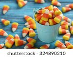 halloween candy corns in bucket ... | Shutterstock . vector #324890210