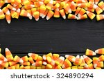 Halloween Candy Corns On Black...