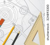 vector technical blueprint of ... | Shutterstock .eps vector #324893300