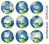 vector globes with arrows | Shutterstock .eps vector #32491132
