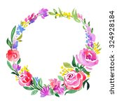 watercolor floral wreath for... | Shutterstock . vector #324928184