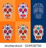 day of the dead sugar skulls... | Shutterstock .eps vector #324928730