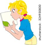 blondie young girl with a book... | Shutterstock .eps vector #324930830