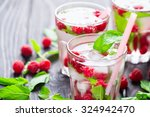 cocktail with raspberry and...   Shutterstock . vector #324942470