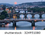 Prague Cityscape And Full Moon...