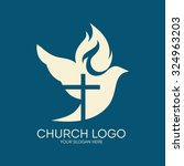 church logo. dove  cross  flame ... | Shutterstock .eps vector #324963203