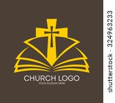 church logo. cross and open... | Shutterstock .eps vector #324963233