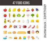 large set of flat cartoon food... | Shutterstock .eps vector #324974369