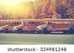 Row Of Generic School Buses...