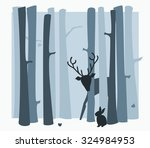 inky blue scene in the woods... | Shutterstock .eps vector #324984953