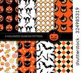 set of 8 seamless halloween... | Shutterstock .eps vector #324985319