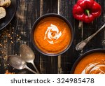 delicious pumpkin soup with... | Shutterstock . vector #324985478