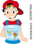 little smart boy with a fishbowl | Shutterstock .eps vector #324987464