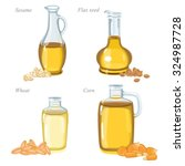 four glass bottles with oil and ... | Shutterstock .eps vector #324987728