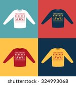 ugly christmas sweaters or... | Shutterstock .eps vector #324993068