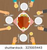 people eating turkey  table ...   Shutterstock .eps vector #325005443