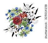 watercolor flowers on white... | Shutterstock . vector #325014158