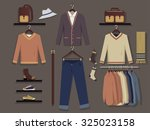 clothing store for men wall... | Shutterstock .eps vector #325023158