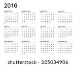Calendar 2016 Year On White...