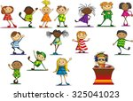 joyful children in colorful... | Shutterstock .eps vector #325041023