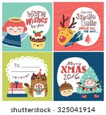 Set Of Christmas Card  Gift Tag