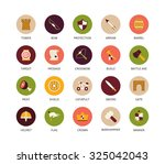 round icons thin flat design ... | Shutterstock .eps vector #325042043