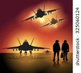 fighter jet before take off.... | Shutterstock .eps vector #325060124