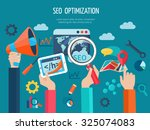 seo optimization concept with... | Shutterstock . vector #325074083
