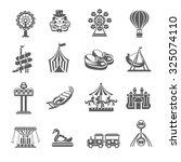 amusement park grey icons set... | Shutterstock . vector #325074110