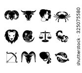 stylized icons set of twelve... | Shutterstock . vector #325075580