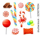 candies and sweets set with... | Shutterstock . vector #325079054