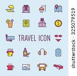 set of travel line icon
