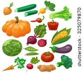vegetables icons set with... | Shutterstock . vector #325079870