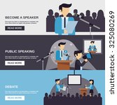 public speaking banner set with ... | Shutterstock . vector #325080269