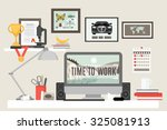 workspace in room with desk... | Shutterstock . vector #325081913