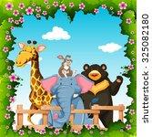 wild animals in flower frame... | Shutterstock .eps vector #325082180