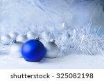 blue christmas balls on the...   Shutterstock . vector #325082198