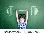 happy healthy strong kid weight ... | Shutterstock . vector #325090268